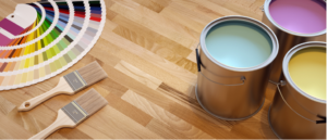 Paint and paint samples on floor