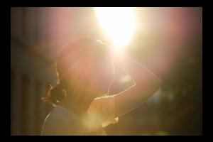 Woman in hot sun