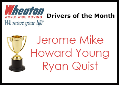 Wheaton Drivers of the Month - May 2016