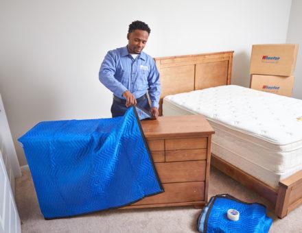 Furniture pad over a dresser
