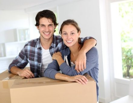 Happy Couple Moving