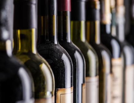 Row of wine bottles