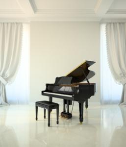 Piano in empty room